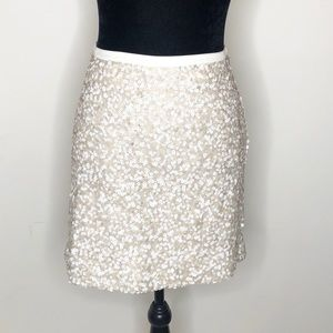Tommy Hilfiger sequin white tan skirt 8